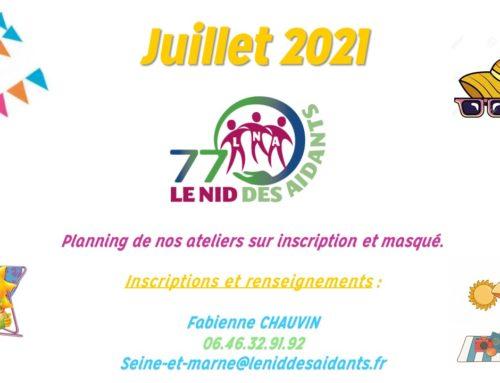 PLANNING DE JUILLET 2021